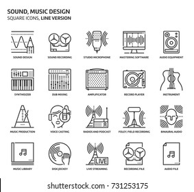Sound design, square icon set. The illustrations are a vector, editable stroke, thirty-two by thirty-two matrix grid, pixel perfect files. Crafted with precision and eye for quality.