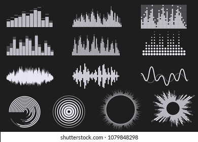 Sound digital equalizer set. Audio digital equalizer technology. Music soundwave icons. Classic, round and creative shapes. Isolated on black background. Element for your design. Vector eps 10.