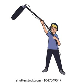 Sound engineer, journalist with a microphone on a long stick. Cartoon vector illustration, isolated on white background.