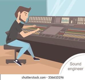 Sound engineer. Vector isolated illustration. Cartoon character