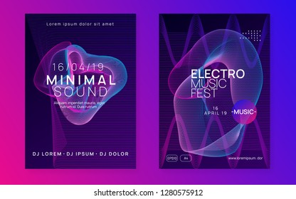 Sound flyer. Dynamic gradient shape and line. Futuristic concert banner set. Neon sound flyer. Electro dance music. Electronic fest event. Club dj poster. Techno trance party.