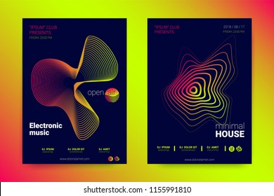 Sound Flyer with Wavy Lines. Abstract Background with Distorted Stripes, Round and Gradient. Music Wave Poster. Electronic Sound Cover. Modern Vector Illustration. Minimal Sound Fest in Night Club.