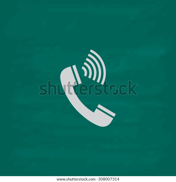 Sound from the handset - phone. Icon. Imitation draw with white chalk on green chalkboard. Flat Pictogram and School board background. Vector illustration symbol