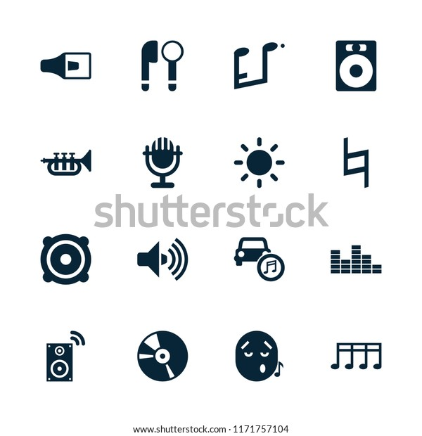 Sound Icon Collection 16 Sound Filled Stock Vector (Royalty