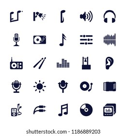 Sound icon. collection of 25 sound filled icons such as gramophone, volume, contrast, microphone, bell, radio, headphones, dvd player. editable sound icons for web and mobile.