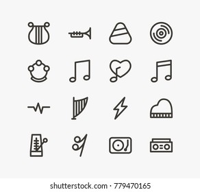 Sound icon line set with song note, plectrum and harp. Set of timbrel related sound icon line vector items for web mobile logo design.