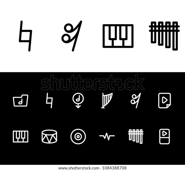 Sound Icon Set Webcam Download Music Stock Vector (Royalty
