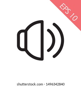 Sound icon, Sound icon vector, in trendy flat style isolated on white background. Sound icon image, Sound icon illustration. EPS10, Premium.