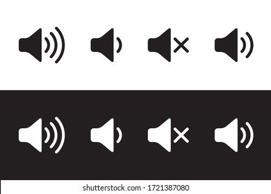 Sound icon, volume symbol, speaker sign, audio control icon set, black and white, vector illustration.