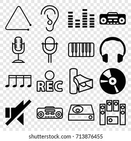 Sound icons set. set of 16 sound filled and outline icons such as equalizer, no sound, cd, record player, volume, dvd player, rec, ear, loud speaker set, microphone, piano