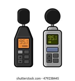 Sound Level Meter Set on White Background. Vector illustration