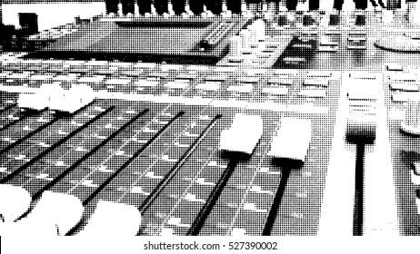 Sound mixer control panel, closeup. Black white halftone doted background. Vector.