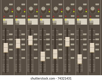 sound mixer pult. faders and regulators. eight channels.