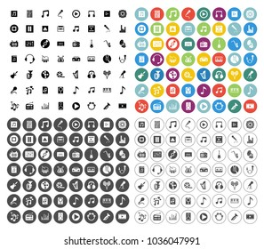 Sound Music icons set - audio sign and symbols
