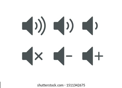Sound Music icons set. Audio icons. Sound buttons. Vector illustration isolated on white background.