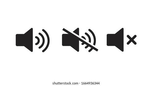 Sound off vector icon. Mute button speaker. Volume sign.
