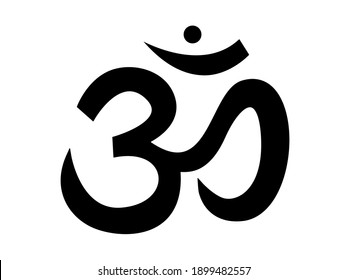 Sound ohm. Main black symbol of sacred mantra pure sound yoga and spirituality religious hinduism with vector buddhism.