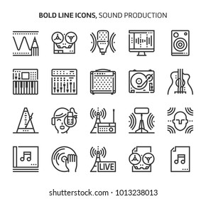 Sound production, bold line icons. The illustrations are a vector, editable stroke, 48x48 pixel perfect files. Crafted with precision and eye for quality.