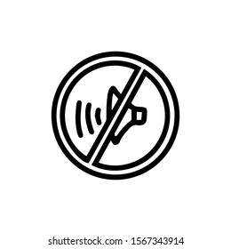 Sound prohibition icon isolated on white background. Doodle outline vector illustration. Sign black line symbol of silence.Design website, print on the walls in the hospital,kindergartens,school,logo.