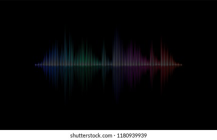 Sound radio wave background of music song or soundtrack loud light equalizer diagram. Vector neon light graph of sound wave pattern on black background