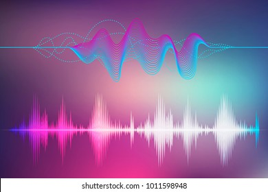 Sound and radio wave set. Icon of earthquake vibration, human pulse, audio digital record. Neon background and lines. Vector illustration, eps 10.
