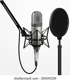 Sound recording equipment concept - Professional studio 3d silver microphone , cable and black pop filter on mic stand. realistic design, vector art image illustration isolated on white background