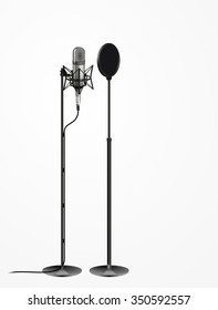 Sound recording equipment concept - Professional studio 3d silver microphone, cable and black pop filter on mic stand. realistic design, vector art image illustration isolated on white background