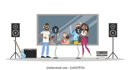 Sound recording studio. Music band singing rap song in recording room. Music recording. Isolated vector flat illustration