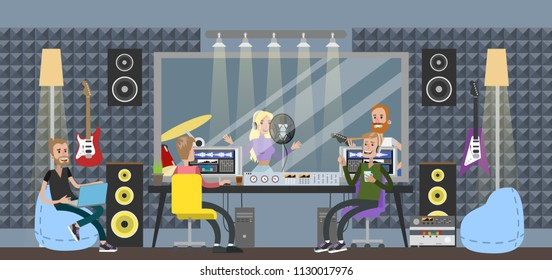 Sound recording studio. People sitting in control room with different equipment for capturing, mixing and mastering music. Woman singing song and man playing guitar. Music recording.
