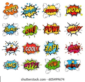Sound replicas or comic speech bubbles for crash and wham, explosion bang and boom message with bomb, oops and oh, pow and snap fighting clouds, zap and omg, wtf. Onomatopoeic expressions