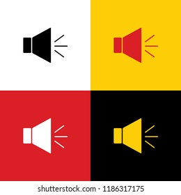 Sound sign illustration with mute mark. Vector. Icons of german flag on corresponding colors as background.