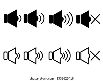 The sound and speaker icon isolated on white background.