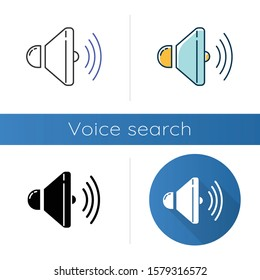 Sound speaker icons set. Volume control idea. Loudspeaker, megaphone. Modern stereo equipment. Sound signal tool, loud noise.Linear, black and color styles. Isolated vector illustrations