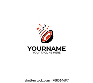 Sound speaker and musical notes logo template. Woofer vector design. Subwoofer illustration