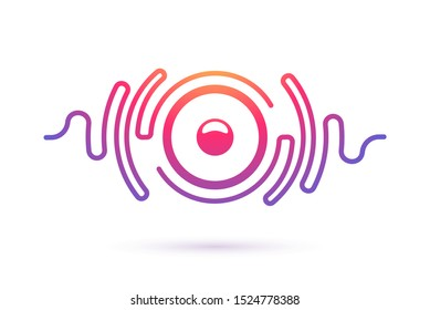 Sound speaker and waves isolated vector icon. Music company, equipment, radio stations logo template