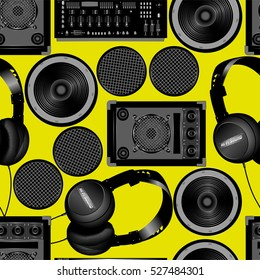 Sound and subwoofer speakers seamless pattern .