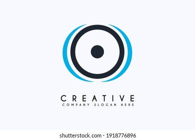 Sound system logo design vector illustration. Sound system icon design. Suitable for Business and Technology logos,isolated on Blue background