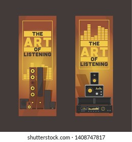 Sound system pattern vector audio acoustic equipment stereo technology for playback dj music sound-record with headphones backdrop illustration electronic bass studio background.