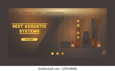 Sound system vector web landing page audio acoustic equipment stereo technology for playback dj music sound-record with headphones backdrop illustration electronic bass studio background web-page.