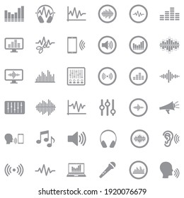 Sound And Volume Icons . Gray Flat Design. Vector Illustration.