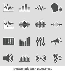 Sound And Volume Icons. Sticker Design. Vector Illustration.