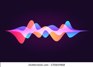 Sound wave, abstract colored equalizer, personal ssistant, voice recognition. Smart home ui element. Speaking waveform, vector gradient flow. Futuristic illustration in neon colors.