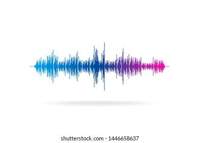 Sound wave abstract digital equalizer. Motion vector music element concept
