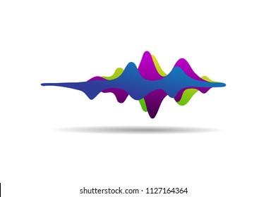 Sound wave colorful background. Gummy speaking. Vector illustration