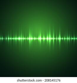 Sound wave. Digital oscilloscope and graphic equalizer. Vector illustration.