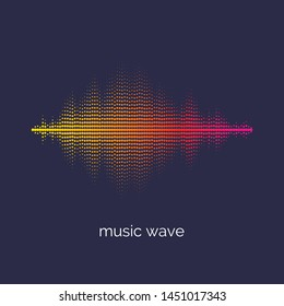 Sound wave dotted equalizer. Modern vector illustration on dark background