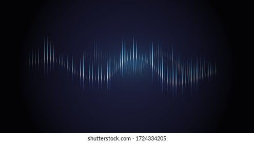Sound wave. Dynamic vibration wallpaper. Abstract sound wave element on blue background. Music visualization, futuristic graphic element as digital equalizer. Frequency pulse modulation vector