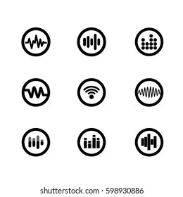 Sound wave and equalizer sound vector icons.