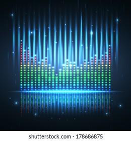 Sound wave graphic equalizer. Vector illustration.