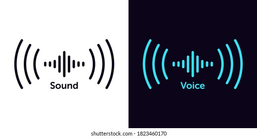 Sound wave icon for voice recognition in virtual assistant, speech sign. Abstract audio wave, voice command control, outline acoustic waveform. Vector element for voice mobile app interface